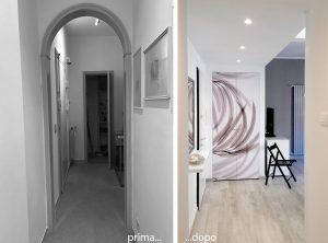 Zona ingresso - prima e dopo intervento
